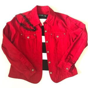 """Red jean jacket""Liz Claiborne Size Medium"